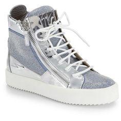Giuseppe Zanotti Metallic-Paneled Studded High-Top Sneakers found on Polyvore