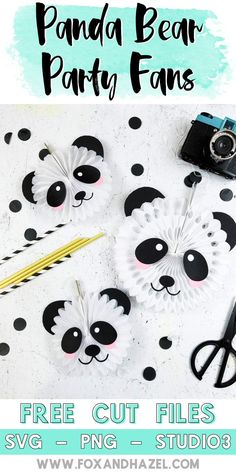 Create these fun Panda bear party fans with FREE cut files - Fox + Hazel Panda Themed Party, Panda Birthday Party, Panda Party, Bear Party, 7th Birthday, Diy Panda, Panda Craft, Panda Bear Crafts, Baby Shower Centerpieces