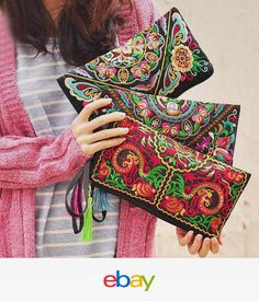 2f6b451dbf Women Retro Ethnic Embroidered Wristlet Clutch Bag Handmade Wallet Purse  Nice Purse Wallet, Clutch Bags