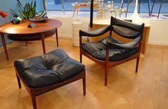 Ensemble fauteuil et ottoman Modus, design Kristian Solmer Vedel, éditon Søren Willadsen, Danemark, 1963