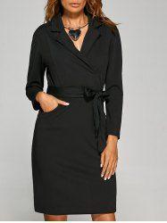 Tie Waist Lapel Dress with Pocket