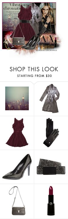 """Armani Exchange"" by mallow-mist ❤ liked on Polyvore featuring CO, Armani Exchange, Giorgio Armani, studded belts, coats, jeweled heels, bags and dresses"