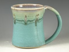 Large Mug Cup with Large Handle - turquoise (20oz) -- Perfect for Hot Chocolate    This white stoneware mug is thrown on the pottery wheel. I