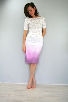 SALE Linen ombre skirt in white and pink faded skirt by Bartinki,