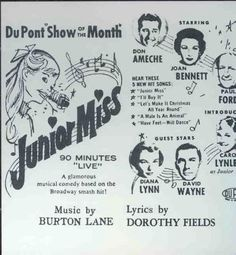 Junior Miss - TV musical by Burton Lane and Dorothy Fields
