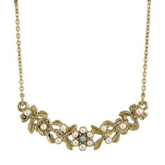 Downton Abbey® Boxed Gold-Tone Simulated Pearl & Turquoise Color Necklace