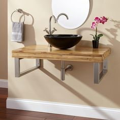 Floating Brown Oak Combinated Steel With Black Bowl Sink And Round Mirror, Amazing Modern Bathroom Vanities With Vessel Sinks Ideas: Bathroom