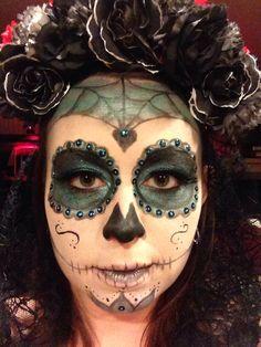 Sugar skull Halloween makeup.