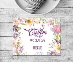 Purple floral border,Personalized Quote,Custom Watercolor,Custom Quote,Custom Print,Custom Poster,Personalized Poster,Floral Quote Print by MakesMyDayHappy on Etsy