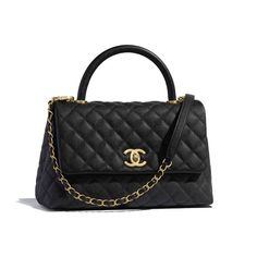 Handbags of the Reorders CHANEL Fashion collection : Flap Bag with Top Handle, grained calfskin & gold-tone metal, black on the CHANEL official website. Popular Handbags, Cute Handbags, Cheap Handbags, Chanel Handbags, Purses And Handbags, Chanel Bags, Luxury Handbags, Gucci Bags, Louis Vuitton Alma