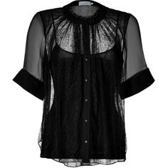 Preen by Thornton Bregazzi Verena Blouse (520 BAM) ❤ liked on Polyvore featuring tops, blouses, shirts, black shirt, black cami, black blouse, cuff shirts and evening blouses