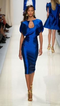 Blue - Valentin Yudaskin SS Collection for 2014 elegant silk pencil dress