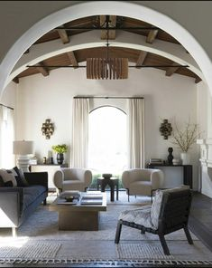 Beverly Hills Living Room by DISC Interiors, Spanish Revival home updated. Design Living Room, Living Room Interior, Home Living Room, Living Spaces, Living Room Ceiling Ideas, Modern Living Room Designs, Craftsman Living Rooms, Living Room Light Fixtures, Open Space Living