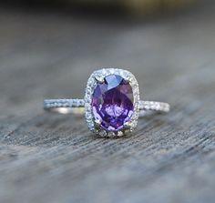1.38ct Lavender purple blue cushion sapphire ring 14k white gold diamond ring engagement ring on Etsy, $1,600.00