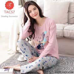 b4fb4982ee Women s Cotton Pajamas Set Long Sleeve Nightgown Ladies Sleepwear