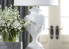 Margeaux lamp's oh-so-romantic design feels fresh and new. Ceramic Studio, Bedroom Lamps, Shop Lighting, White Enamel, Decorating Tips, Interior And Exterior, One Shoulder Wedding Dress, Table Lamps, Floral