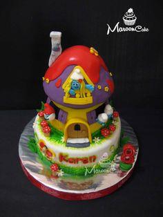 3D Smurf House Cake