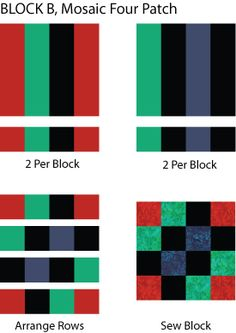 Play with colors when you make the Mosaic Four Patch, an easy quilt pattern with strip pieced blocks.: Make Mosaic Four Patch 'B' Quilt Blocks