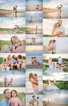 Fun family lifestyle photos at the beach. Sunset family beach photo session inspiration for young family with twins. Images by Melissa Bliss Photography, Virginia Beach Photographer