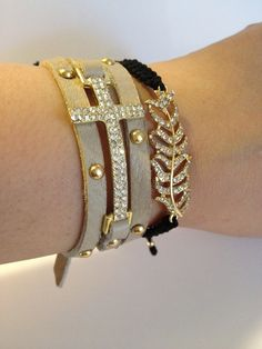 Crystal Cross Wrap Bracelet with Leather by StyleLoveLiving