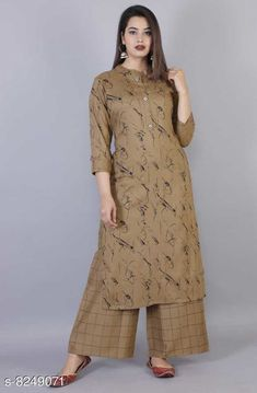 Kurta Sets Women Rayon A-line Self-Design Long Kurti With Palazzos Kurta Fabric: Rayon Bottomwear Fabric: Rayon Fabric: Rayon Sleeve Length: Three-Quarter Sleeves Set Type: Kurta With Bottomwear Bottom Type: Palazzos Pattern: Printed Multipack: Single Sizes: XL (Kurta Length Size: 45 in)  L (Kurta Length Size: 45 in)  M (Kurta Length Size: 45 in)  XXL (Kurta Length Size: 45 in)  Country of Origin: India Sizes Available: M, L, XL, XXL   Catalog Rating: ★4.3 (454)  Catalog Name: Women Rayon A-line Self-Design Long Kurti With Palazzos CatalogID_1376517 C74-SC1003 Code: 045-8249071-2931