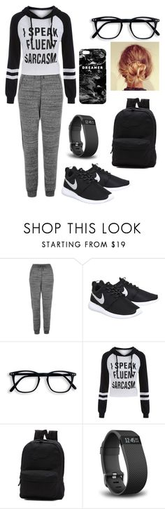 """""""Sleepover"""" by siri12345 ❤ liked on Polyvore featuring Topshop, NIKE, Vans, Fitbit and Mr. Gugu & Miss Go"""