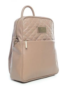 Mochila feminina com matelassê em couro legítimo bege - Enluaze Loja Virtual | Bolsas, mochilas e pastas
