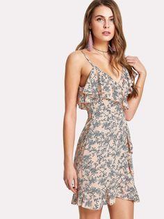 10aa15e0aa9 Flower Print Asymmetrical Shoulder Ruffle Trim Dress