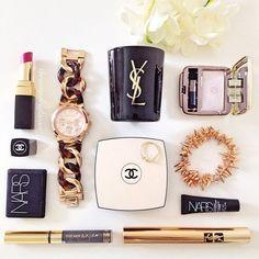 #flatlay #makeup #pretty #chanel #ysl #MichaelKors