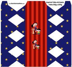 Caixa Bala Personalizados Show da Luna Azul e Vermelho