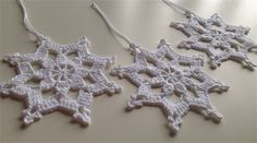Crochet White Christmas Snow Flakes Set of 3