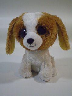 "Ty Beanie Boos Cookie Brown White Dog Plush Stuffed Animal 5"" Big Eyes"