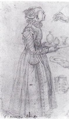 Allessandro Allori, Study of a Woman with a Tray and hands, Renaissance Costume, Renaissance Clothing, Renaissance Fashion, Italian Renaissance, 16th Century Clothing, 16th Century Fashion, Modern History, European History, Elizabethan Clothing