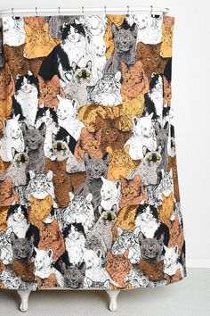 Finally, the thing that will pull your bathroom together - cat shower curtain! #catober
