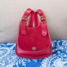 Vintage Coach Bright Red Suede Leather Messenger by vintageair