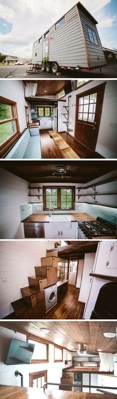 The Mayflower, a 399.5 sq ft tiny house on wheels with a home office
