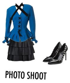 """""""Untitled #2160"""" by mollface ❤ liked on Polyvore featuring Balmain, Thierry Mugler and Valentino"""