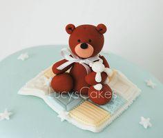 teddy cake topper christening cake by www.lucys-cakes.com, via Flickr
