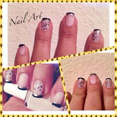 Simple Nail Art. Black, white and gold.
