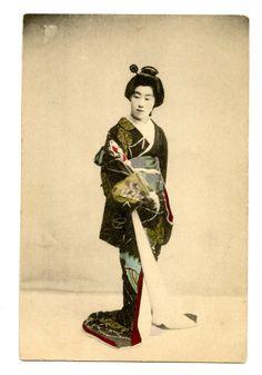Japanese Geisha Victorian Postcard Hand Tinted by AuntieGVintage