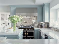 Gray-Blue and White Kitchen