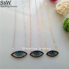 Trendy Nano stone turkish eye Necklace For Women Evil Eye Design Length Adjustable Eye Necklace Jewelry Gift