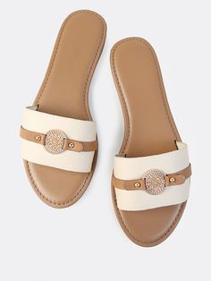Online shopping for Coin Single Band Canvas Slides TAUPE from a great selection of women's fashion clothing & more at MakeMeChic. Mens Slide Sandals, Girls Sandals, Sport Sandals, Women's Shoes Sandals, Girls Shoes, Birkenstock, Fashion Slippers, Modelista, Leather Sandals Flat