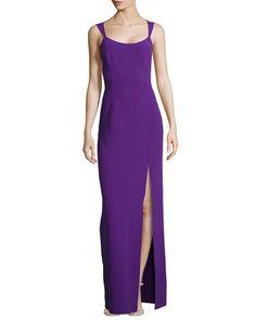 MICHAEL KORS Sleeveless Column Tank Slit-Front Gown, Grape . #michaelkors #cloth #gown