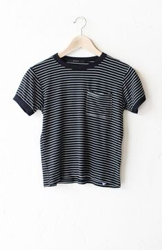 """- Description Details: Super soft knit striped ringer tee in black/white with black contrast collar & sleeve bands and pocket. Slightly Cropped. Measurements: (Size Guide) S: 31"""" bust, 19"""" length M: 3"""