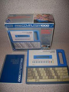 Vintage VTech Precomputer 1000 Educational Laptop Computer w/box + Course Book #Vtech