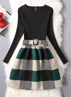 Vestidos Mezclas de algodón Elegante Sobre las rodillas Manga larga Cremallera