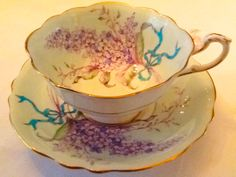 "Paragon ""Lilac"" pale green Aqua ribbon mauve and white lilac"