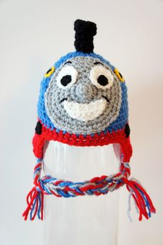 Thomas the Train Hat Crochet Baby Hat Train Hat by stylishbabyhats