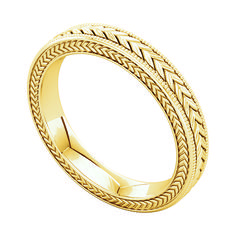 Wheat design 3 mm-wide band in 14k yellow gold, $567; Stuller